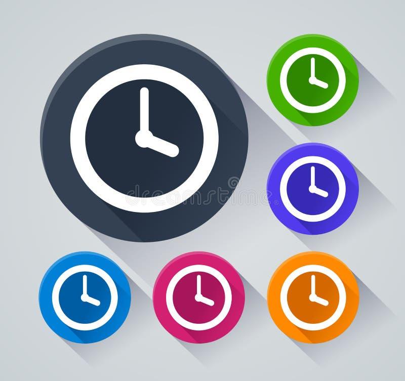 Iconos del círculo del tiempo con la sombra stock de ilustración