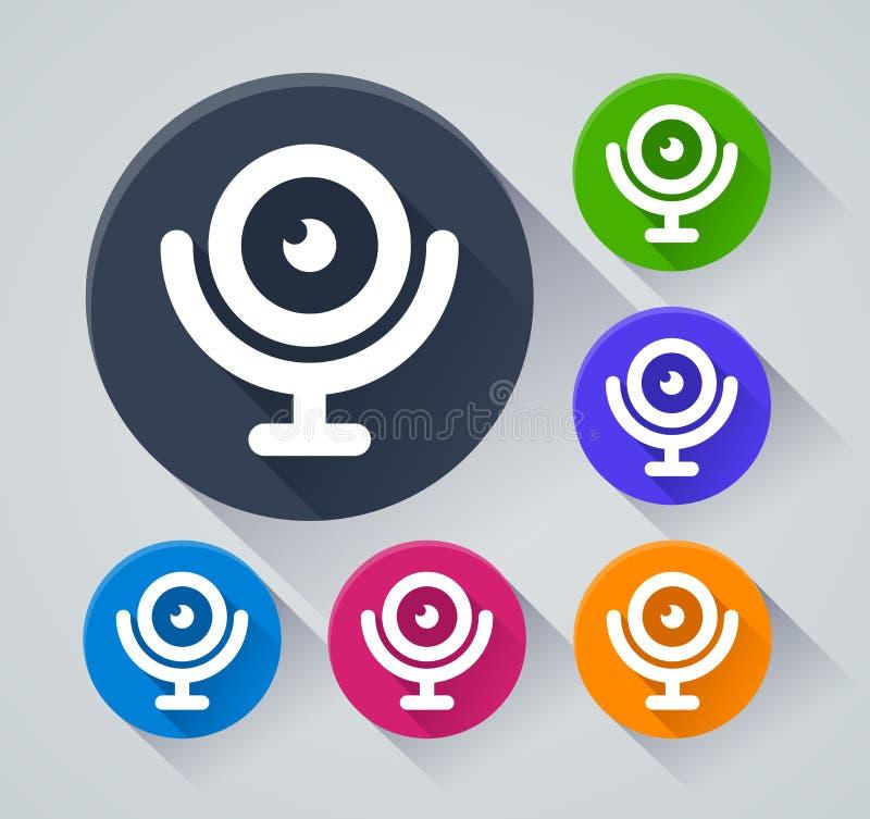 Iconos del círculo del webcam con la sombra ilustración del vector