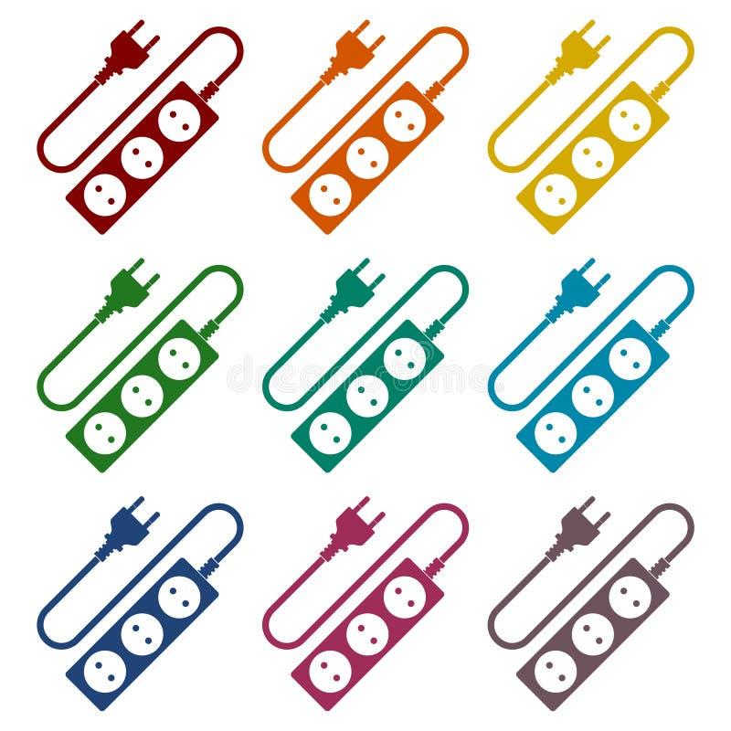 Iconos del cable de extensión fijados stock de ilustración