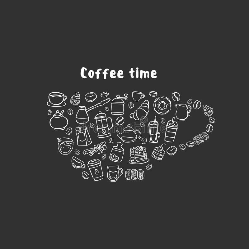 Iconos del café en la forma de taza libre illustration