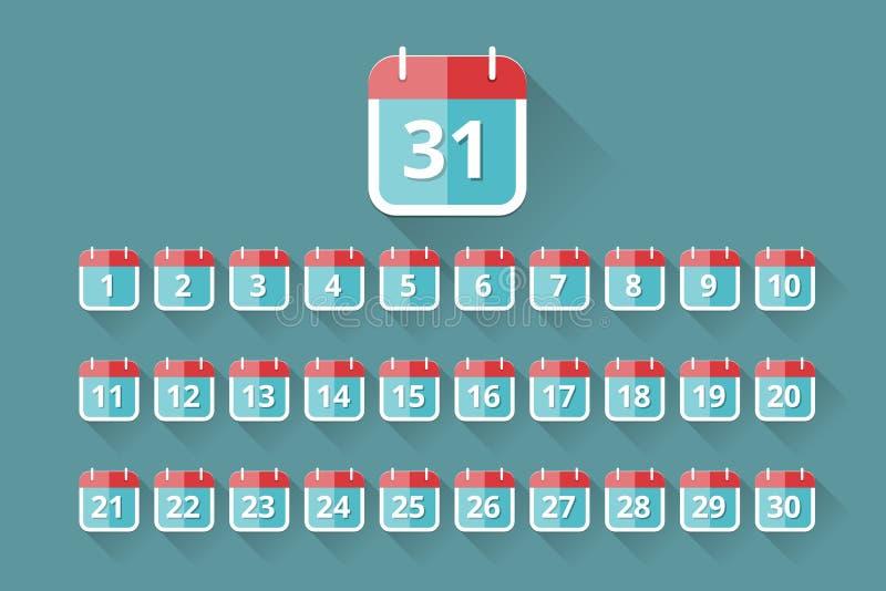 Iconos del calendario stock de ilustración