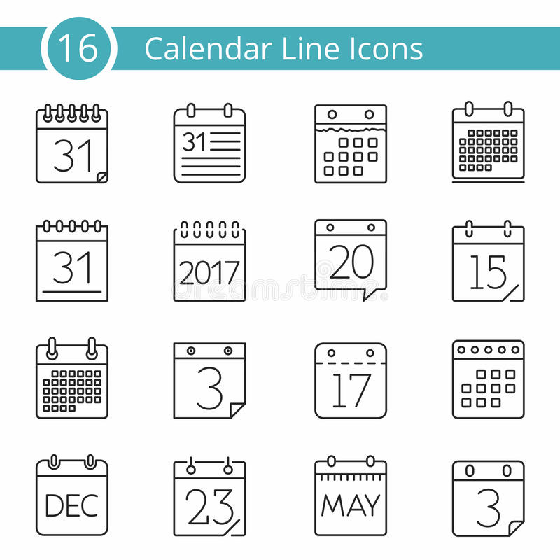 16 iconos del calendario libre illustration