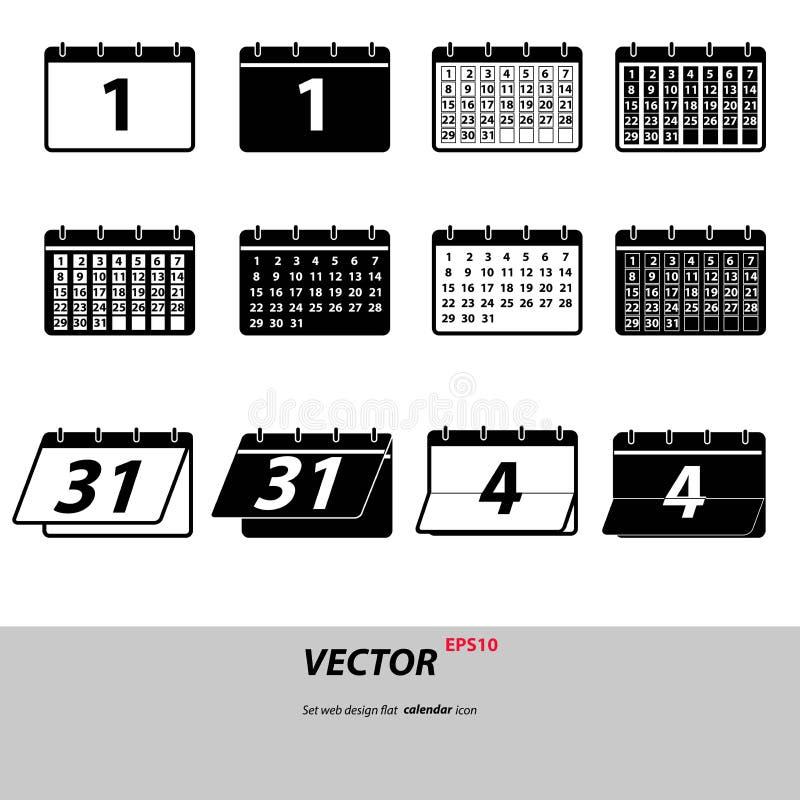 Iconos del calendario de Gray Set aislados en fondo Pictograma plano moderno, negocio, márketing, interno ilustración del vector