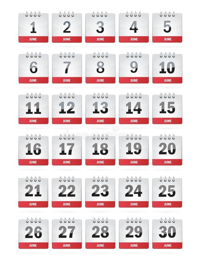 Iconos del calendario de junio stock de ilustración