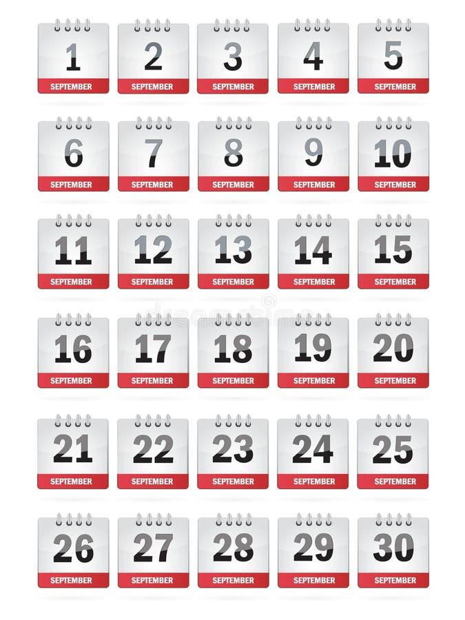 Iconos del calendario de septiembre stock de ilustración