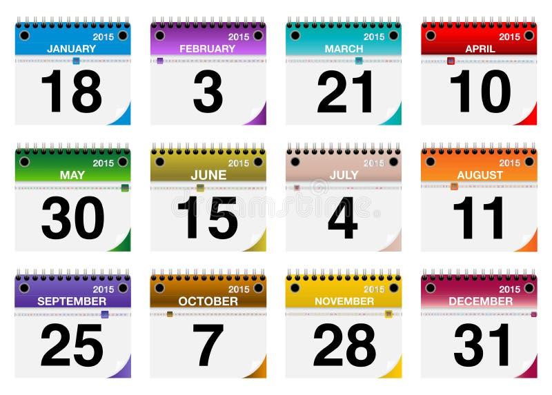 2015 iconos del calendario del vector fijados stock de ilustración