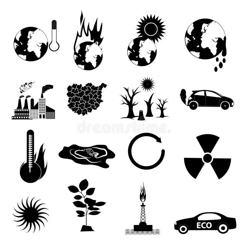 Iconos del calentamiento del planeta fijados libre illustration