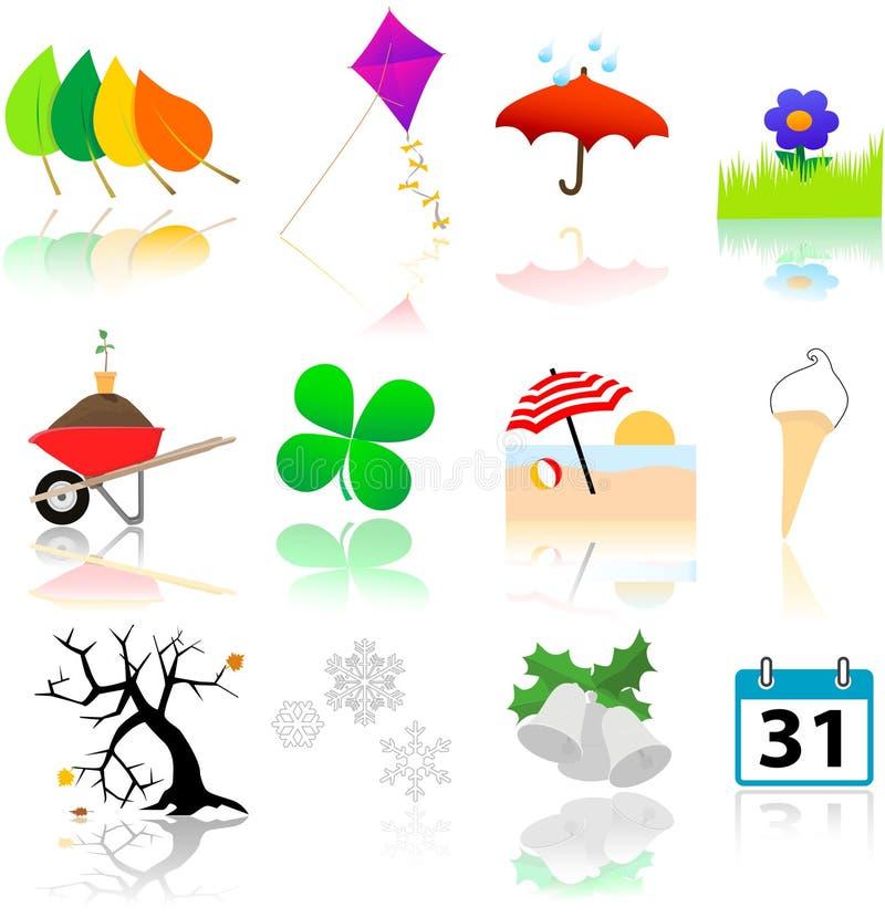 Iconos del cambio de las estaciones stock de ilustración