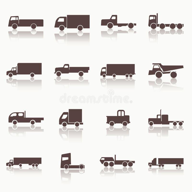 Iconos del camión del transporte stock de ilustración