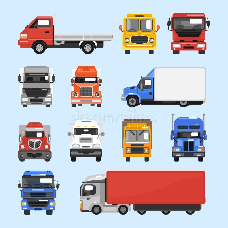 Iconos del camión fijados stock de ilustración