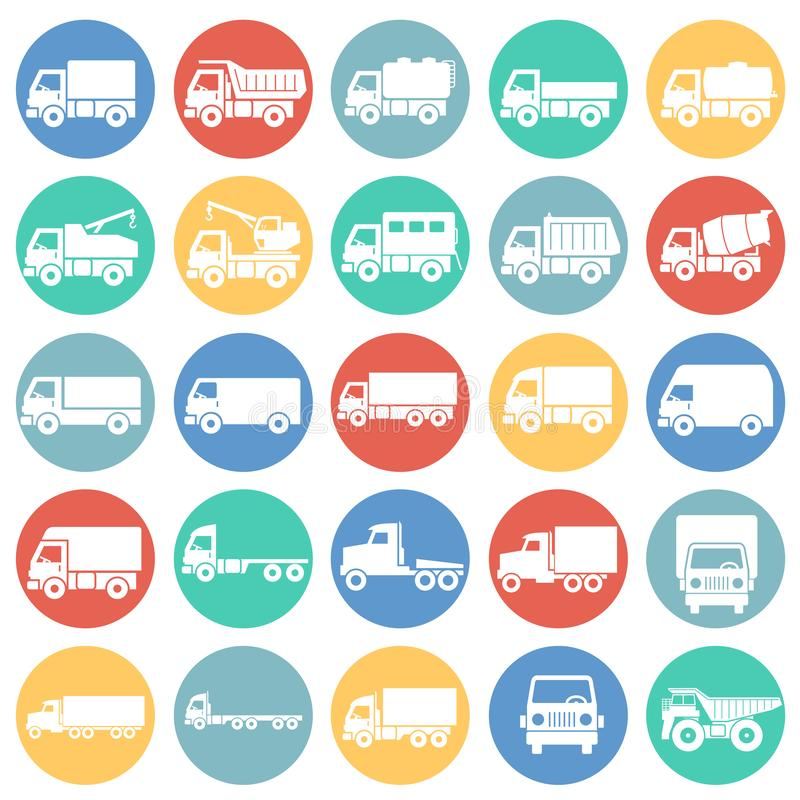 Iconos del camión fijados en el fondo blanco de los círculos de color para el gráfico y el diseño web Muestra simple del vector C ilustración del vector