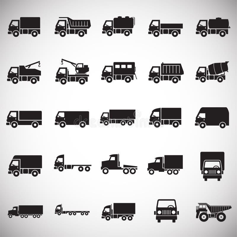 Iconos del camión fijados en el fondo blanco para el gráfico y el diseño web Muestra simple del vector Símbolo del concepto de In stock de ilustración