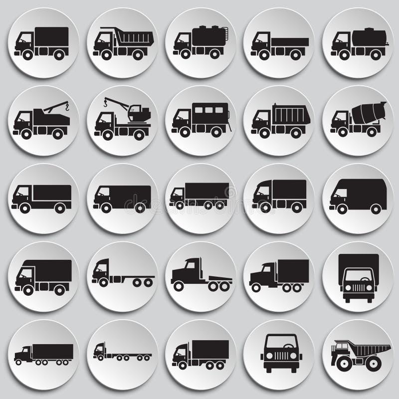 Iconos del camión fijados en el fondo de las placas para el gráfico y el diseño web Muestra simple del vector Símbolo del concept libre illustration