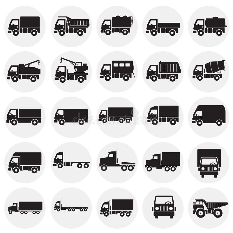 Iconos del camión fijados en el fondo de los círculos para el gráfico y el diseño web Muestra simple del vector Símbolo del conce ilustración del vector