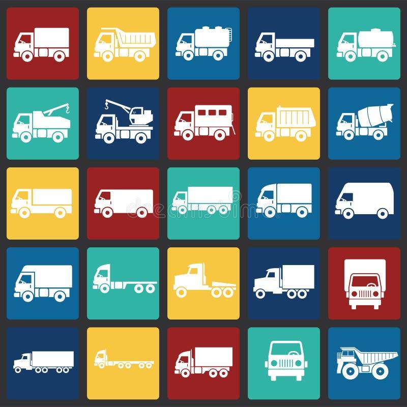 Iconos del camión fijados en el fondo de los cuadrados del color para el gráfico y el diseño web Muestra simple del vector Símbol stock de ilustración