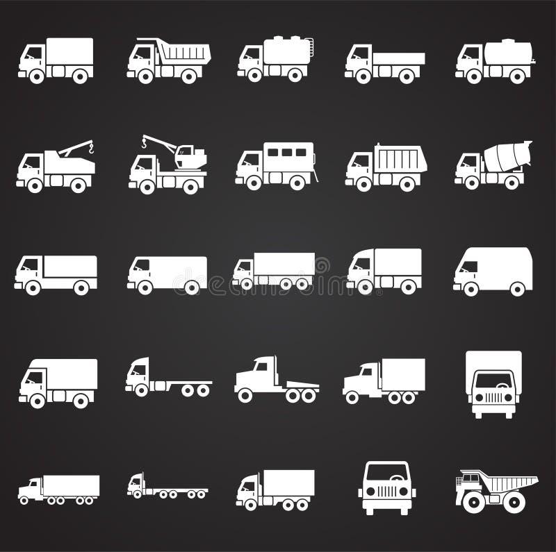 Iconos del camión fijados en el fondo negro para el gráfico y el diseño web Muestra simple del vector Símbolo del concepto de Int libre illustration