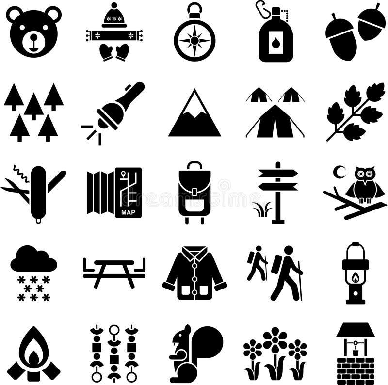 Iconos del caminante y de la montaña ilustración del vector