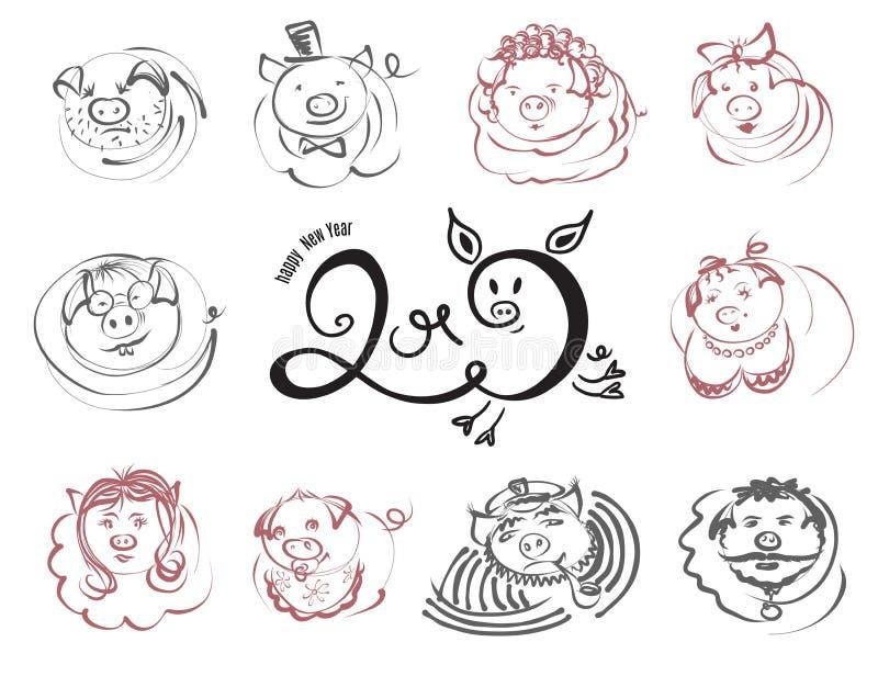 Iconos del carácter de los cerdos y de los verracos del garabato por el Año Nuevo chino 2019 ilustración del vector