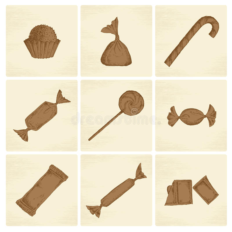 Iconos del caramelo del bosquejo stock de ilustración