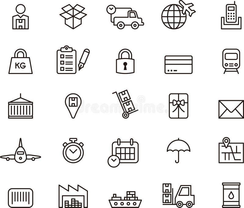 Iconos del cargo, de la entrega, del envío de la carga y del transporte ilustración del vector