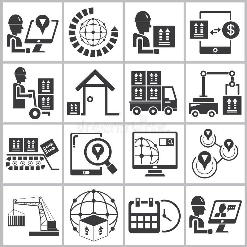 Iconos del cargo y del envío fijados ilustración del vector