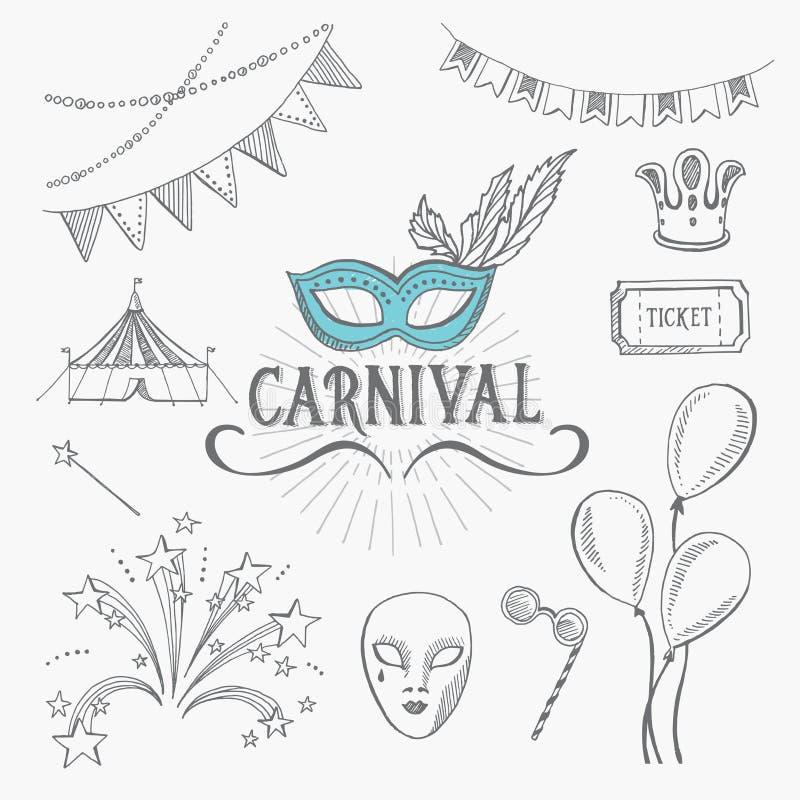 Iconos del carnaval, diseño del bosquejo stock de ilustración