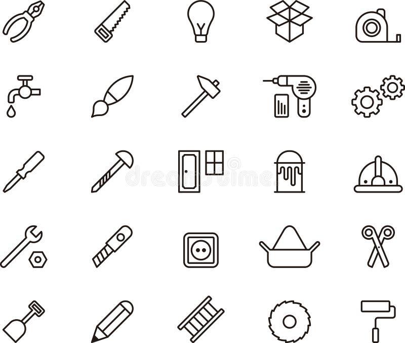 Iconos del carpintero y de las herramientas stock de ilustración