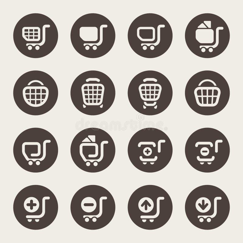 Iconos del carro de la compra ilustración del vector