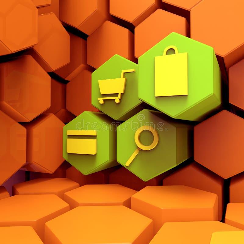 Iconos del carro de la compra para las compras en línea ilustración del vector
