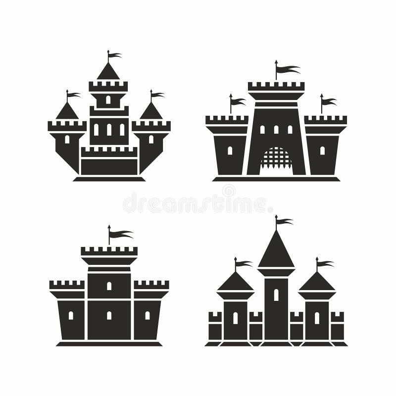 Iconos del castillo stock de ilustración
