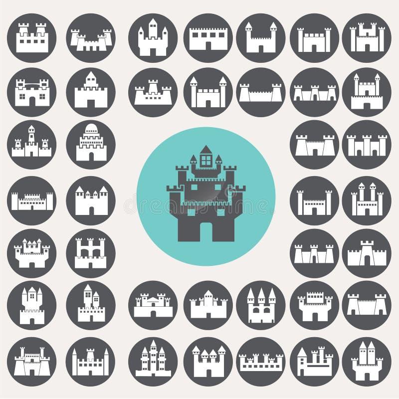 Iconos del castillo fijados stock de ilustración
