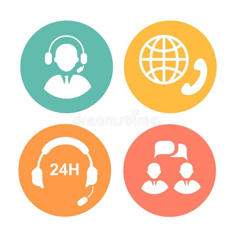 Iconos del centro de atención telefónica del vector del operador y de las auriculares stock de ilustración