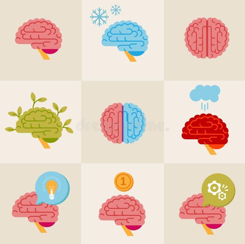 Iconos del cerebro stock de ilustración