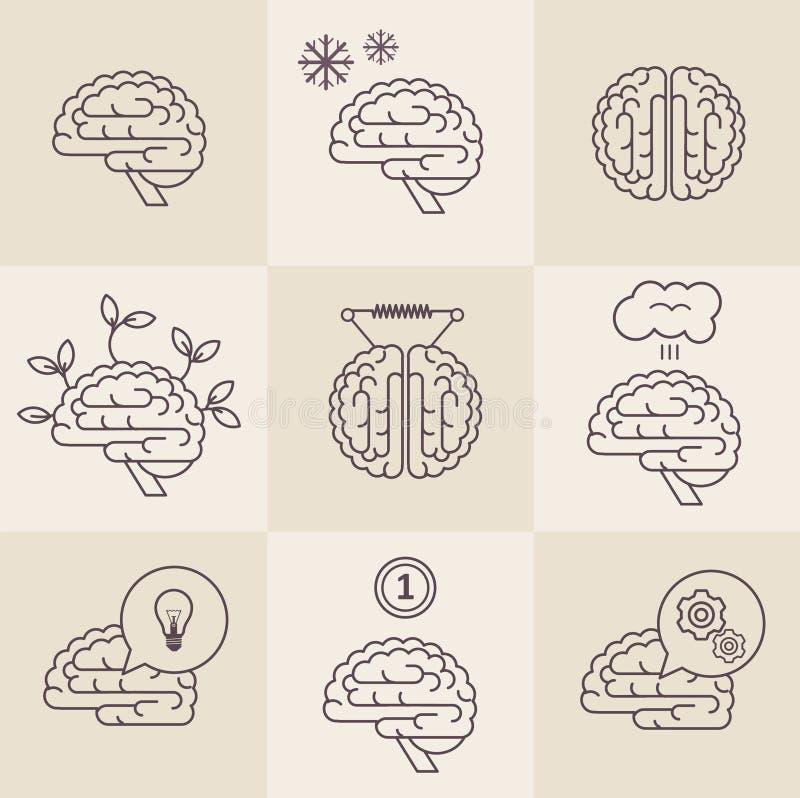 Iconos del cerebro ilustración del vector