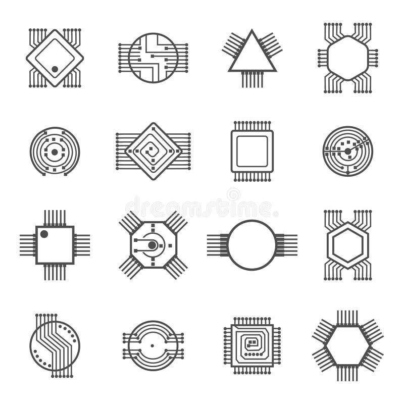 Iconos del chip de ordenador Las muestras del circuito electrónico y del procesador vector el ejemplo aislado en el fondo blanco ilustración del vector