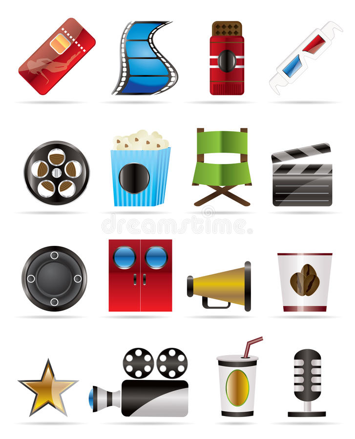 Iconos del cine y de la película libre illustration