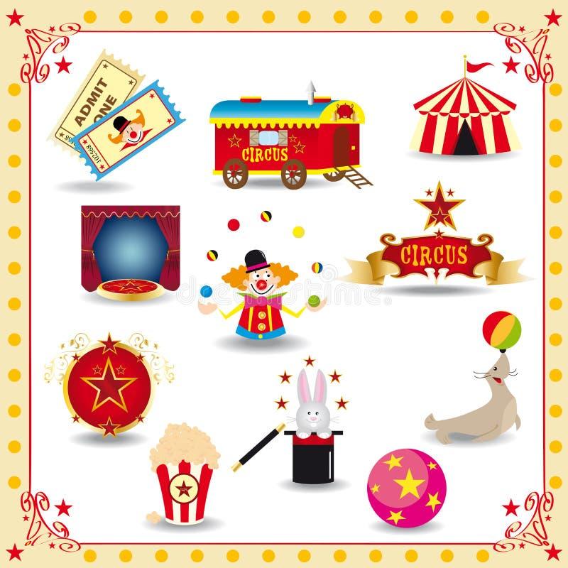 Iconos del circo de Funy ilustración del vector