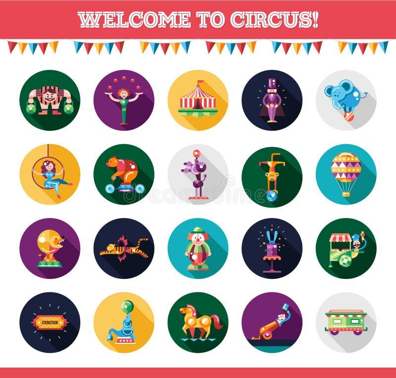 Iconos del circo del diseño y sistema de elementos planos del infographics ilustración del vector