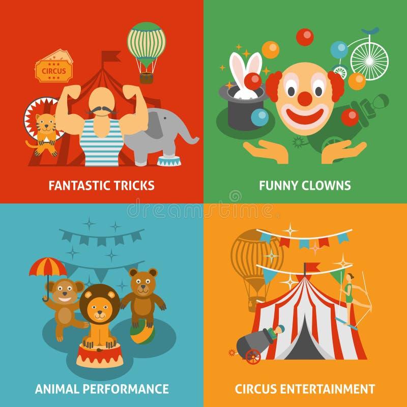 Iconos del circo fijados ilustración del vector