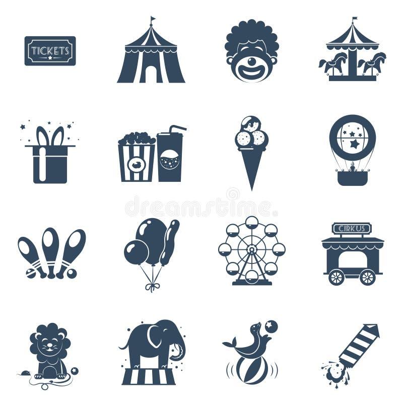 Iconos del circo fijados stock de ilustración