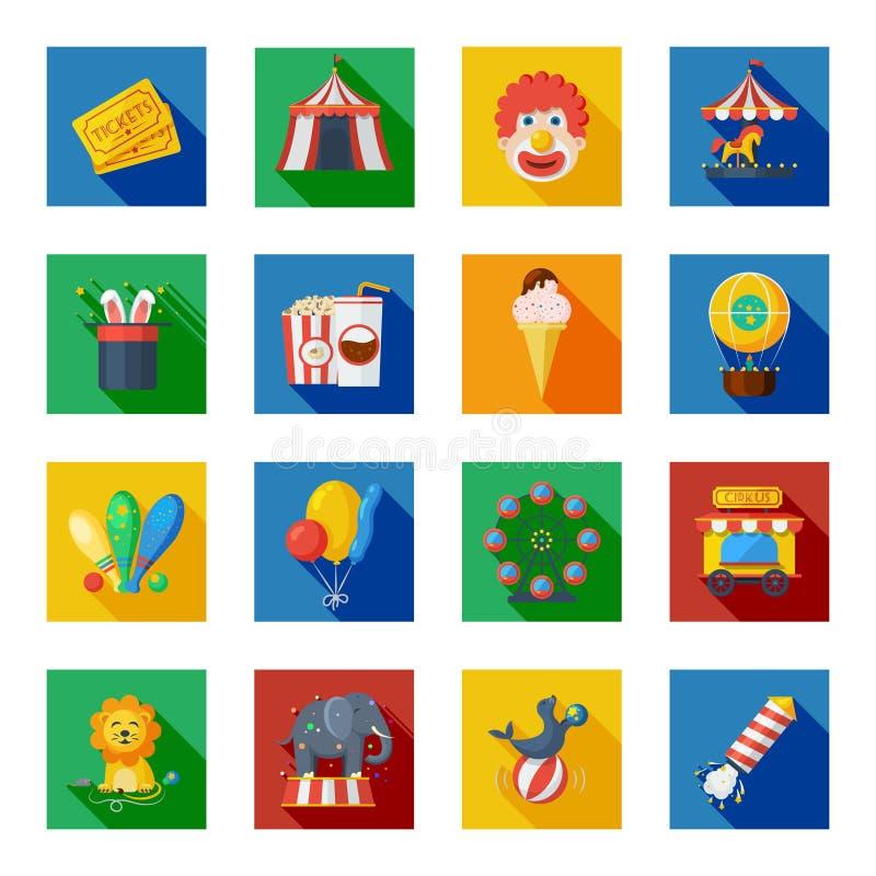 Iconos del circo planos stock de ilustración