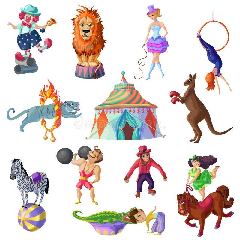 Iconos del circo que viajan fijados stock de ilustración
