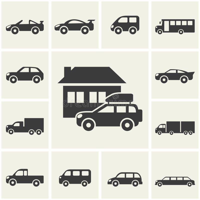 Iconos del coche stock de ilustración