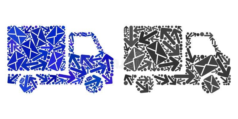 Iconos del coche de entrega del collage de los caminos del poste stock de ilustración