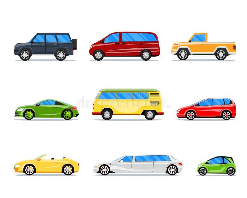 Iconos del coche del vector en estilo plano stock de ilustración