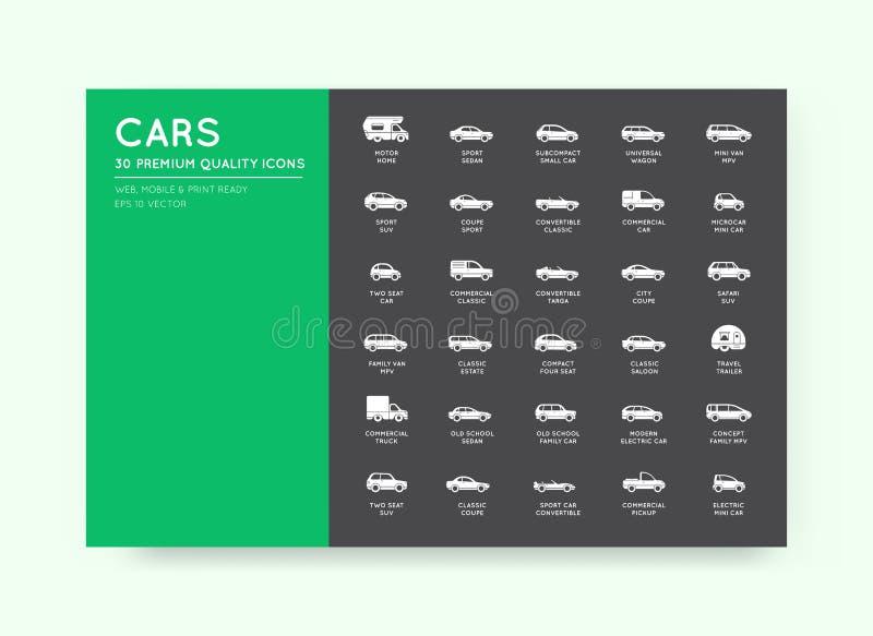 Iconos del coche del vector fijados con todos los tipos y nombres del coche stock de ilustración