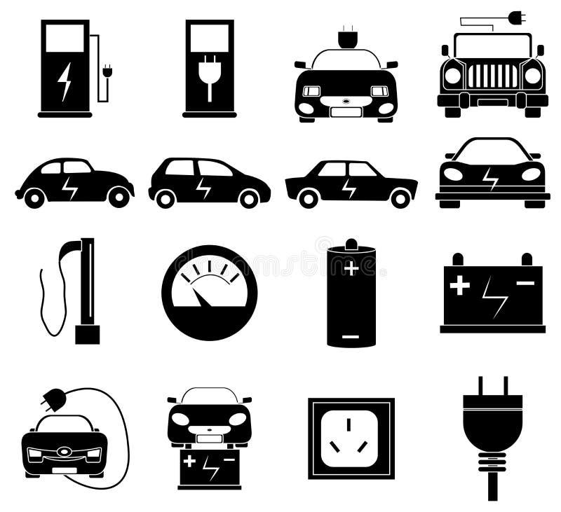 Iconos del coche eléctrico fijados stock de ilustración