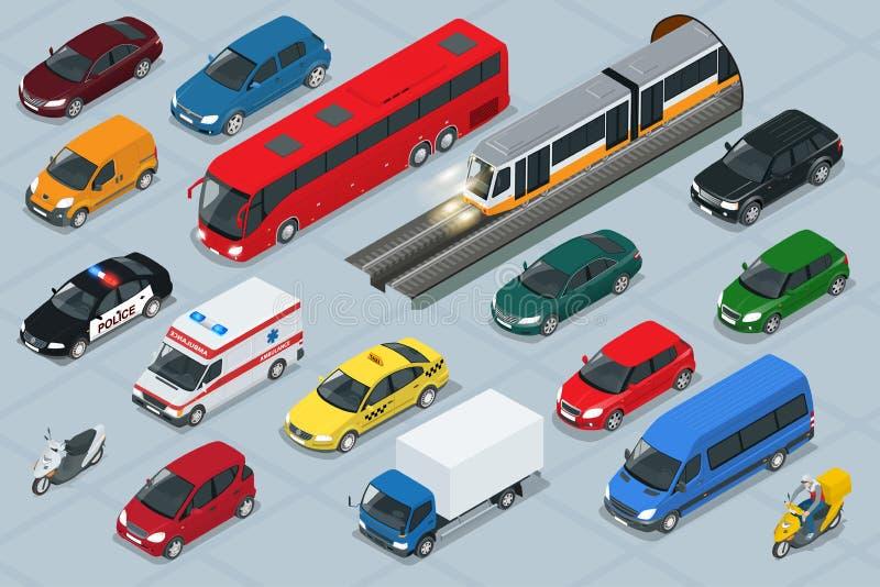 Iconos del coche Sistema de alta calidad isométrico plano del icono del coche del transporte de la ciudad 3d ilustración del vector