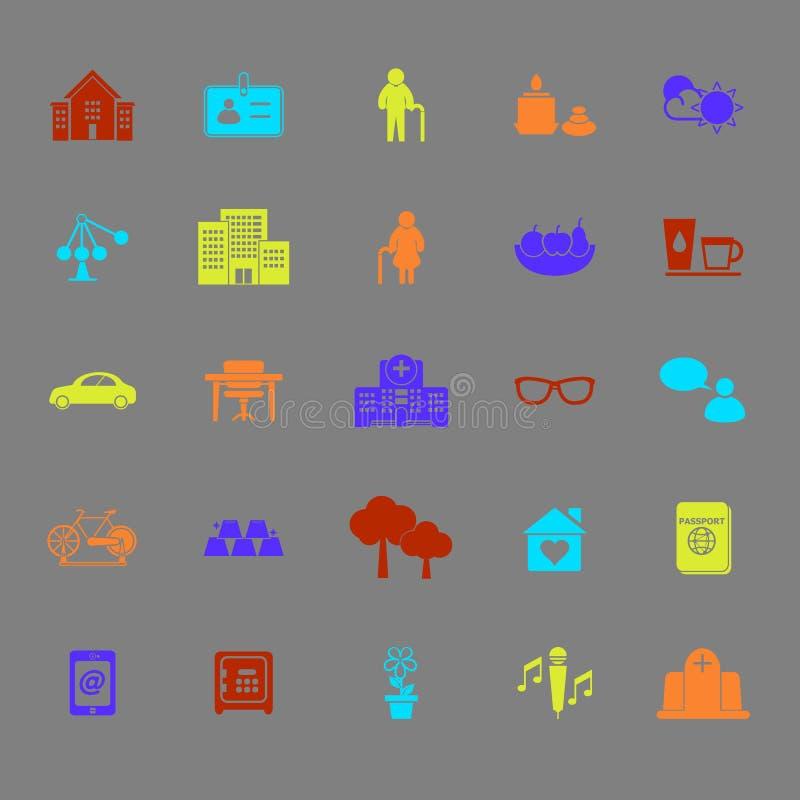 Iconos del color de la comunidad del retiro stock de ilustración
