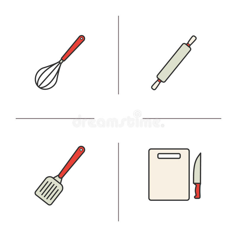 Iconos del color de los instrumentos de la cocina fijados stock de ilustración
